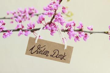 Blütenzweige vom Judasbaum mit Danksagungskarte an einem Kordel hängend