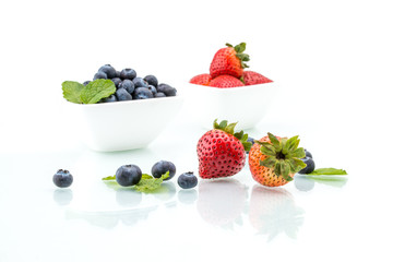 fresh strawberries with leaf, healthy, natural, Blueberry