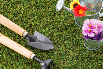tools of gardening with turf
