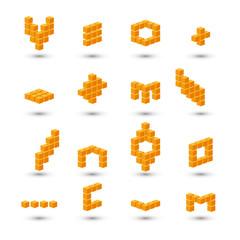 Set of 3d orange cubes on white background.
