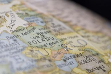 Macro of Poland on a globe