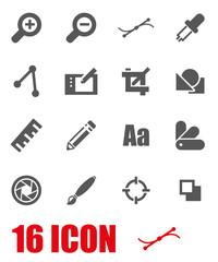 Vector grey graphic design icon set