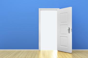 Opened door in the empty blue room