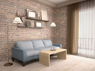 3D illustration of interior living room with a sofa and shelves