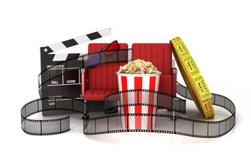 Cinema clapper board, popcorn, 3d glasses, theater seat and tic