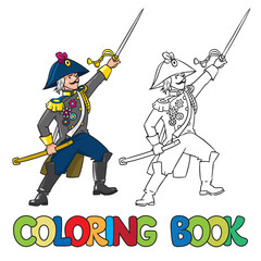 Brave general or officer with sword. Coloring book