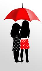 Dwie długowłose dziewczynki pod parasolem