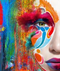 Close up portrait of woman color face