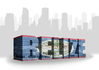 text belize with national flag of belize near abstract silhouette of the city