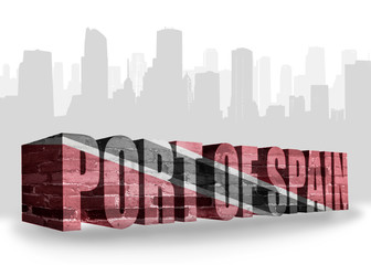 text port of spain with national flag of trinidad and tobago near abstract silhouette of the city