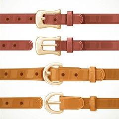 Leather belts with buckles buttoned and unbuttoned variants isol