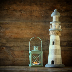nautical lifestyle evening concept. old vintage lighthouse, lantern