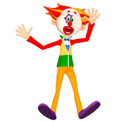Illustration of a surprised clown isolated on a white background