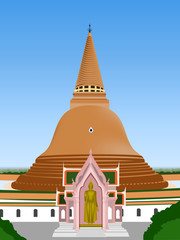 biggest stupa in temple thai