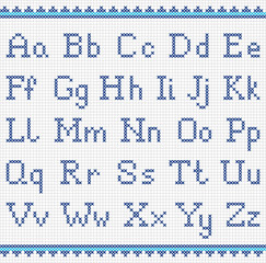 Embroidering alphabet. Uppercase and lowercase letters