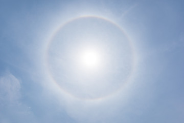 Corona, fantastic beautiful sun halo phenomenon