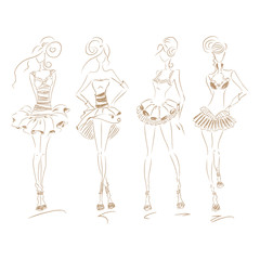 Fashion Dress Beige Set 210