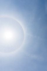 Corona, fantastic beautiful sun halo phenomenon
