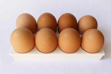 ten eggs on a pedestal white background