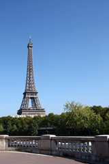 Paris: day view of eiffel tower with copy space