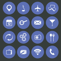 Media,food and communication icons set flat design