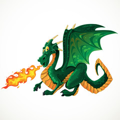 vector fabulous magical green fire-spitting dragon