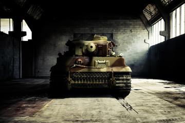 German tank in the military hangar