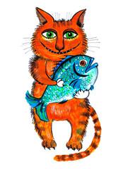 ,,Рыжий кот с рыбой,,.Детский рисунок.
