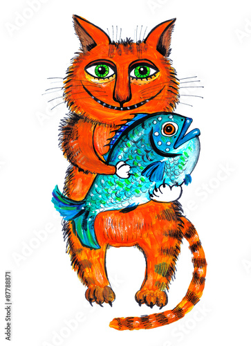 Рисунок кот с рыбой
