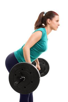Girl lifting weights