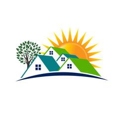 Houses sunny day logo