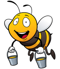 Vector illustration of Cartoon Bee holding honey bucket