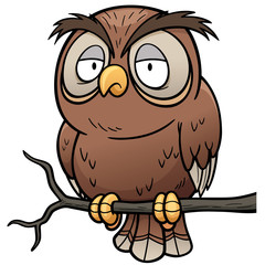 Vector illustration of Cartoon owl sitting on tree branch