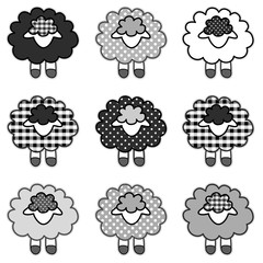 Baby Lambs, gingham and polka dots in black and white, cute, fun