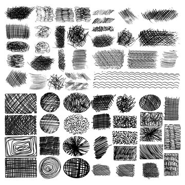 vector set of ink lines, set of hand drawn textures, scribbles of pen, hatching, scratch