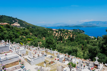 View of the cemetery on green hills  on Corfu  island, Greece