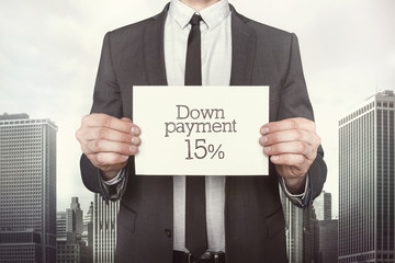 Down payment 15 percent on paper