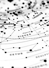Pisces star map zodiac.