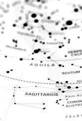 Sagittarius star map zodiac. Star sign Sagittarius on an astronomy star map.