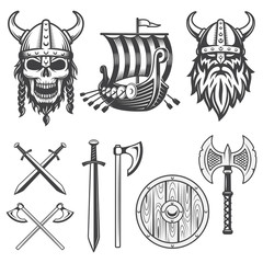 Set of monochrome viking elements
