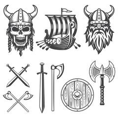 Set of monochrome viking elements