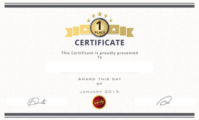 Certificate template with first place concept. certificate borde