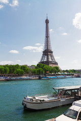 eiffel tower  over Seine river