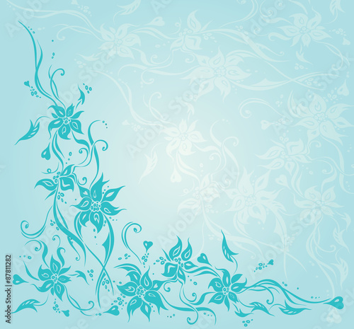 Turquoise Gree Blue Vintage Floral Invitation Wedding Background