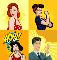 Vector pin up people illustration set