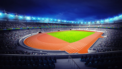 Aluminium Prints Dark grey athletics stadium with track and grass field at corner view