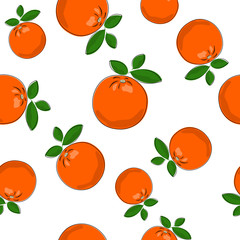 Seamless Pattern of  Orange , Fruit Pattern, Citrus Pattern, Vector Illustration