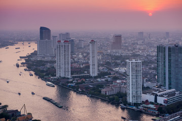 View to Bangkok skyline from 59 floor of the Lebua At State Tower