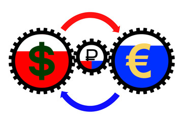 schedule Euro ruble dollar in the vector