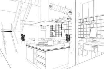 Entwurf modernes Loft